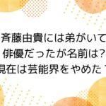 斉藤由貴には弟がいて俳優だったが名前は..?| 現在は芸能界をやめた?